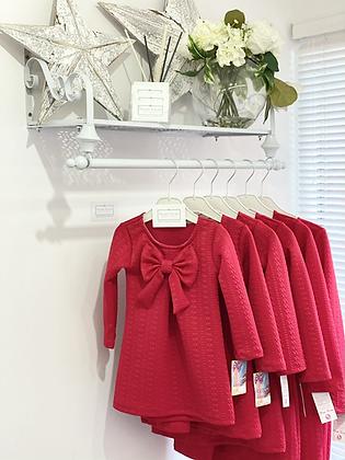 Girls Bow Dress 2y-12y - RED