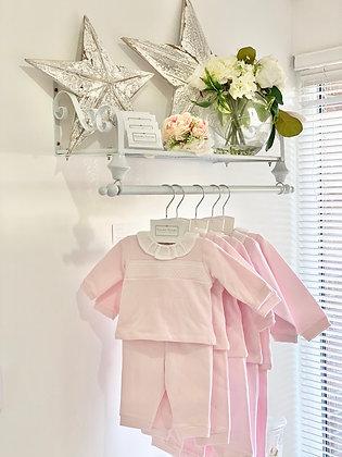 Baby Girls Smocked Tracksuit / Loungewear / Pj's - PINK