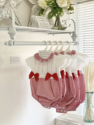 Baby gingham Bow Romper - RED