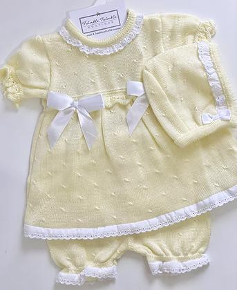 Baby Girls Knit 3 Piece Dress Set - LEMON