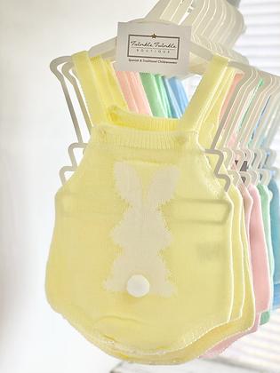 Baby Bunny Knitted Romper - LEMON