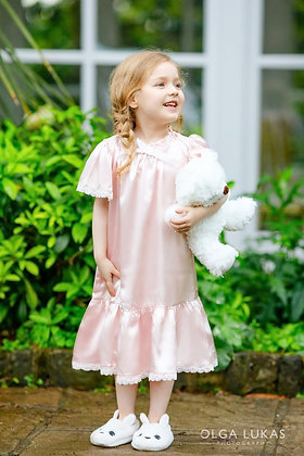 Girls Soft Pink Silk/Satin Night Dress - 24m-6yrs