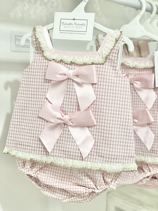 Girls Pink Jam Pant Set with Bow's & Camel lace frill details