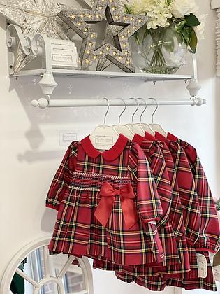 Baby Girl Red Smock Tartan Dress