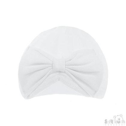 White Cotton Turban Bow Hat 0-6M