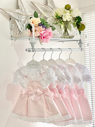 Baby Girls Frill pinafore and shirt set   - PINK