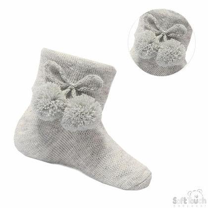 Baby Boys Pom Pom ANKLE Socks - GREY
