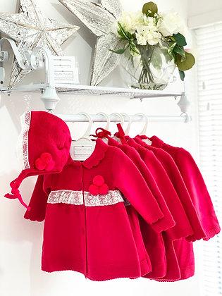 Girls Pom Pom Knit Coat & Bonnet - RED