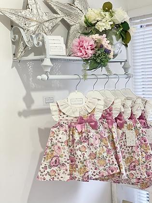 Girls Dusky Pink Floral Dress