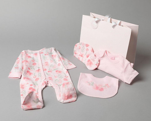Baby 5 piece Pink Gift set with Gift bag