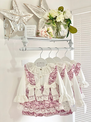 Baby Girls - Lilac Lace Shirt and skirted Bloomer set