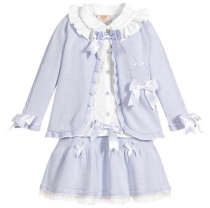 Caramelo - Girls 3 Piece Knit Skirt set - BLUE