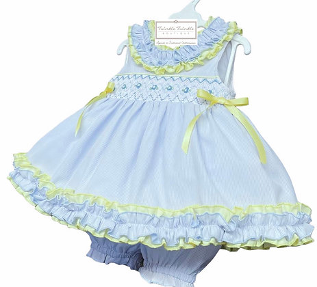 Smock Frill Dress & Bloomers set - BABY BLUE & LEMON