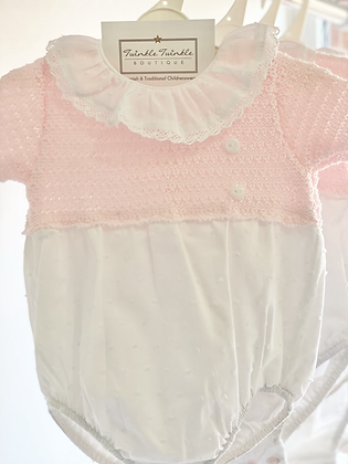 Baby Half Knit Romper - WHITE/PINK