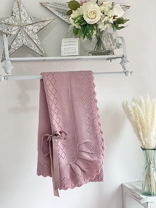 Baby Spanish shawl/Blanket - DUSKY PINK