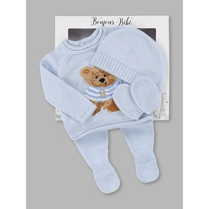 Blue Teddy Bear 4pc knit  Gift Set NB-6M