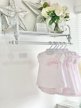 Wee me - Girls  Pink Dress set With Ribbon slot Detail