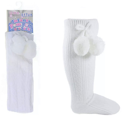Baby Boys Pom Pom Socks - WHITE