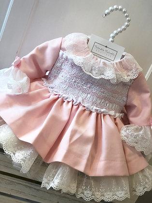 Sonata - Smocked lace Puffball Dress Pink