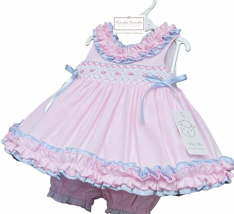 Smock Frill Dress & Bloomers set - BABY PINK  & BLUE
