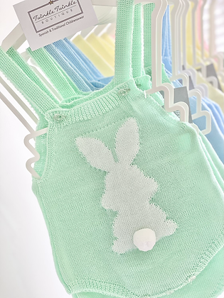 Baby Bunny Knitted Romper - MINT