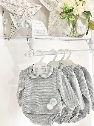 Baby Boys Grey & White Pom Pom knit set