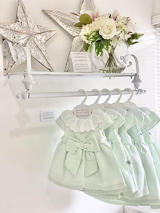 Baby Girls Classy Bow Dress  - Mint