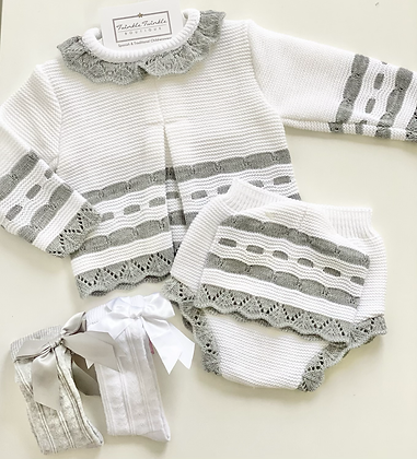 Jam pant set with Hat  3 piece Knit Set - WHITE/GREY