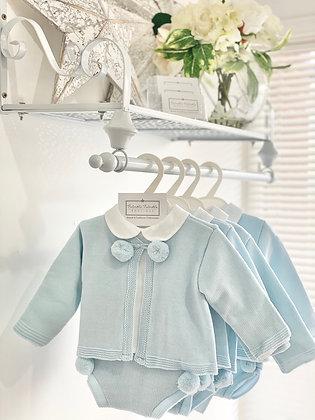 Boys Knit Pom Pom Blue and white 3 piece shirt set