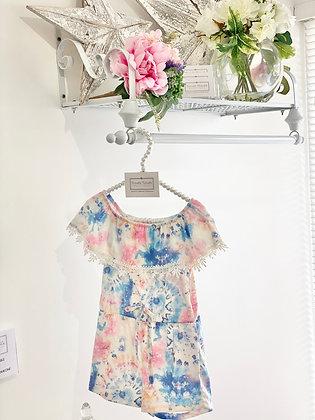 Girls Tie Dye Fashion  Playsuit 4y-14yrs- BLUE