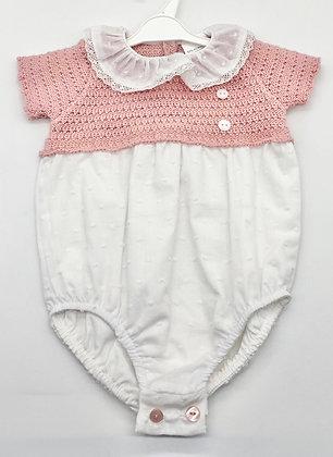 Baby Half Knit Romper - WHITE/DUSKY PINK