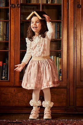 Caramelo Kids - Bow Diamanté Skirt set  - vintage pink