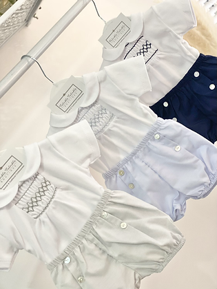 Baby Boys Smock Shorts set - BLUE