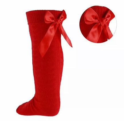 Bow knee high socks - RED