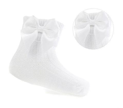 Baby Girls Ankle  Bow Socks - WHITE
