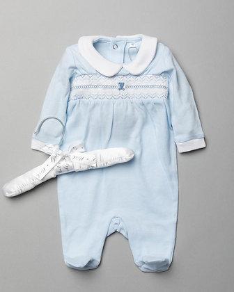 Baby Smock Teddy Sleepsuit  NB-6M