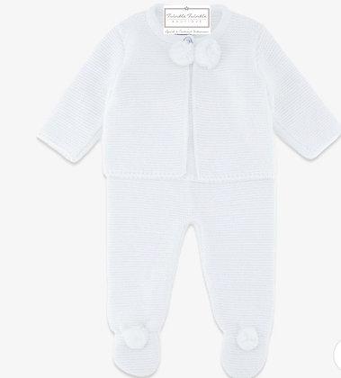 Unisex Baby Pom Pom 2 Piece Set - WHITE