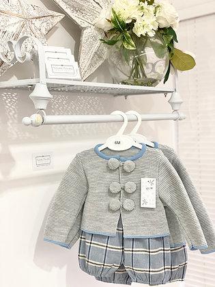 Boy Grey Pom Pom Jacket Set - Grey