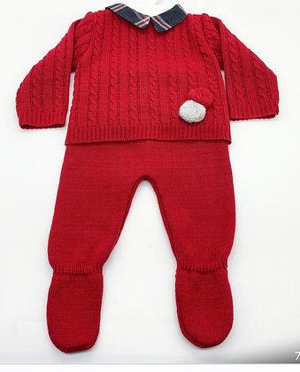 Boys Red & Navy Pom Pom knit set