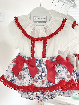Girls Red Detail Skirted Bloomer Set - RED