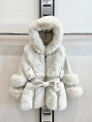 Girls Coat faux Fur - IVORY