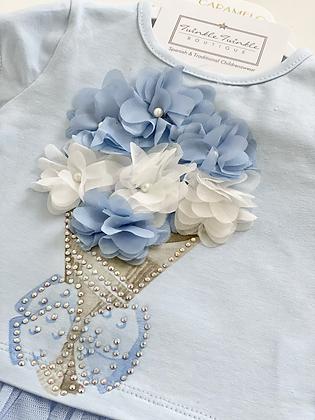 Caramelo - Girls Flower Bouquet Legging Set- BLUE