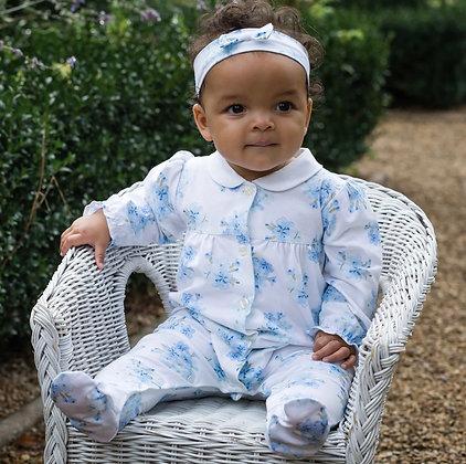 Emile et Rose - Waverley Blue Floral Babygrow and Headband