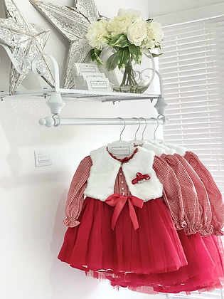 Baby Girls Tulle Dress and Gillet Set - RED