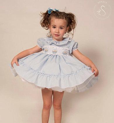 Sonata - Candy Stripe Easter Smocked puffball Dress Blue 323