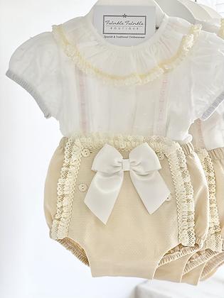 Baby Girl Ribbon Jam pant set  - Beige