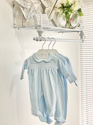 Baby Boys Blue Smock Babygrow with white detail