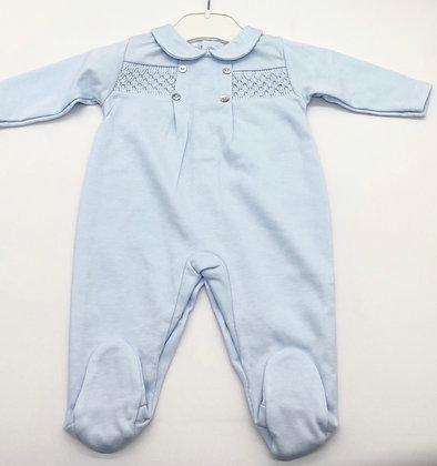 Boys Smock Babygrow- BLUE