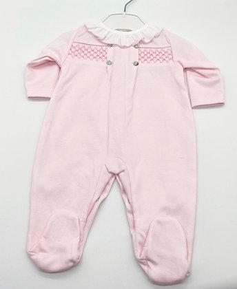 Girls Smock Babygrow- PINK