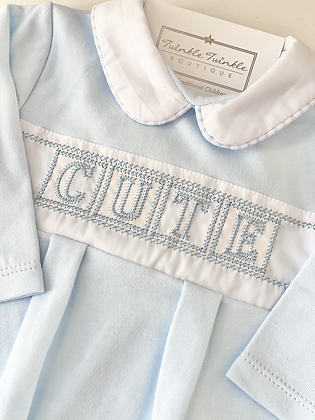 Baby boys  Embroidered Cute Babygrow - BLUE